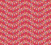 Seamless Winter Holidays Pattern with Christmas Lights  Stock Image