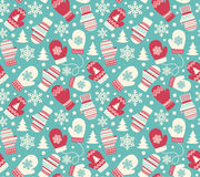 Seamless Winter Holidays Pattern with Mittens Gloves  Stock Image