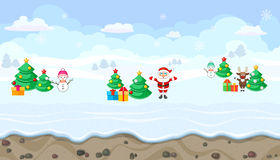 Seamless winter landscape with Christmas characters for game design Stock Photos