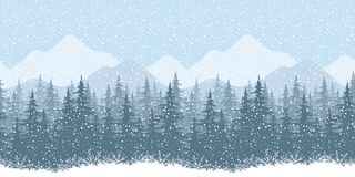 Seamless winter landscape with fir trees Stock Photo