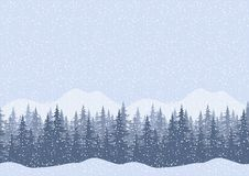 Seamless winter landscape with fir trees. Seamless horizontal winter mountain landscape with fir trees and snow, silhouettes. Vector Stock Photos