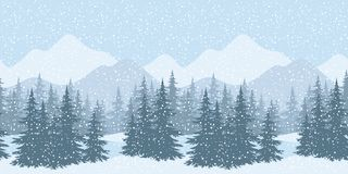 Seamless winter landscape with fir trees. Seamless horizontal winter mountain landscape with fir trees and snow, silhouettes. Vector Royalty Free Stock Images