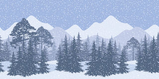 Seamless winter landscape with fir trees. Seamless Horizontal Winter Mountain Landscape with Spruce Trees and Snow, Silhouettes. Eps10, Contains Transparencies Royalty Free Stock Photo