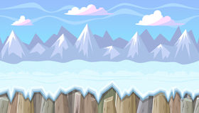 Seamless winter landscape with rocky mountains for Christmas game design Stock Photos