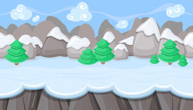 Seamless winter landscape with round mountains for Christmas game design Royalty Free Stock Image