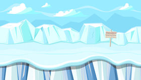 Seamless Winter Landscape With Icebergs For Christmas Game Design Royalty Free Stock Image