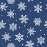 Seamless winter new year snowflakes background. Can be used for wrapping paper, fabric, napkins, like design elements etc Royalty Free Stock Photo