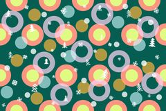 Seamless winter pattern background. Colorful balls, Christmas trees, snowflakes, circles illustration royalty free stock image