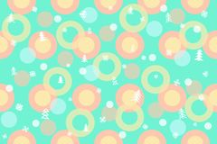 Seamless winter pattern background. Colorful balls, Christmas trees, snowflakes, circles illustration royalty free stock photos