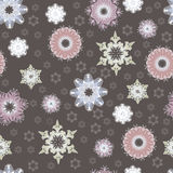 Seamless winter pattern with beautiful snowflakes Royalty Free Stock Images