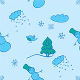 Seamless winter pattern on a blue background Stock Photography