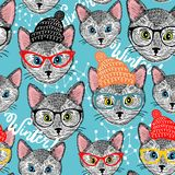 Seamless winter pattern with cat in hat. vector illustration