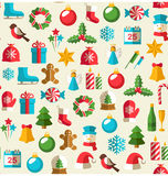 Seamless Winter Pattern with Christmas Flat Icons  on Be Royalty Free Stock Image