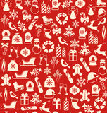 Seamless Winter Pattern with Christmas Icons  on Red. Background Stock Photo