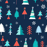 Seamless winter pattern of Christmas trees Stock Image