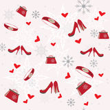 Seamless winter pattern. With clothing elements Stock Photo