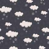 Seamless winter pattern with clouds and snowflakes Royalty Free Stock Photo