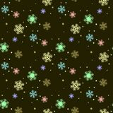Seamless winter pattern with colorful snowflakes. Girlish cute style. Vector flat design. Eps 10 stock illustration