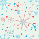 Seamless winter pattern with colorful snowflakes. Girlish cute style. Vector flat design. Eps10 royalty free illustration