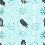 Seamless winter  pattern with cute cats Royalty Free Stock Image