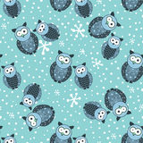 Seamless winter pattern with cute owls and snow Stock Image