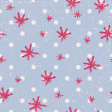 Seamless winter pattern with dots and hand painted snowflakes Stock Images