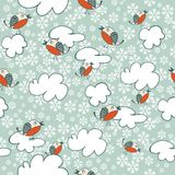 Seamless winter pattern with flying birds Stock Photo