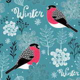 Seamless winter pattern of frozen forest and birds. Royalty Free Stock Photos