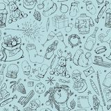 Seamless winter pattern with hand drawn christmas elements. Doodle style Royalty Free Stock Images