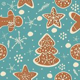 Seamless Winter Pattern with hand drawn gingerbread cookies and Stock Photography