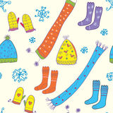 Seamless winter pattern with hats, socks, Royalty Free Stock Photos