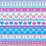 Seamless Winter pattern with Hearts and Owls. Seamless Winter Sweater pattern with Hearts and Owls. Pink-Blue version. Seamless pattern can be used for Royalty Free Stock Photo
