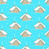 Seamless winter pattern with houses Royalty Free Stock Photo