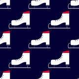 Seamless winter pattern with skates. Seamless winter pattern. Sport background with figure ice skates Stock Photo