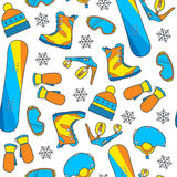 Seamless winter pattern with snowboard equipment in a vibrant, y Royalty Free Stock Photography