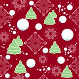 Seamless winter pattern with snowflakes, snow. Vec Stock Image