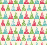 Seamless Winter Pattern with Stylized Decoration Christmas Trees Stock Photos