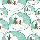 Seamless Winter pattern with winter trees Royalty Free Stock Photos