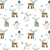 Seamless Winter Patterns with Deers and Snowman Stock Photo