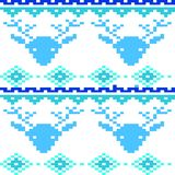 Seamless winter patterns with pixels. Vector Stock Illustration