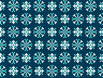 Seamless winter patterns with pixels. Vector Stock Images