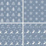Seamless winter patterns. Set of seamless vector patterns Royalty Free Stock Photo