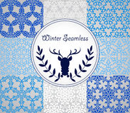 Seamless Winter Patterns. 8 Vector Seamless Pattern with Snowflakes, fully editable eps 10 file with clipping masks and seamless pattern in swatch menu Stock Photo