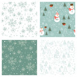 Seamless winter patterns. Vector winter patterns with snowflakes and snowmen Stock Photography