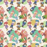 Seamless winter people pattern Royalty Free Stock Image