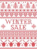 Seamless Winter Sale Scandinavian style, inspired by Norwegian Christmas, festive winter pattern in cross stitch with reindeer. Christmas tree, heart Royalty Free Stock Photos