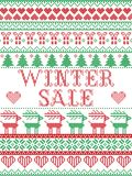 Seamless Winter Sale Scandinavian style, inspired by Norwegian Christmas, festive winter pattern in cross stitch with reindeer, Ch. Ristmas tree, heart Royalty Free Stock Images