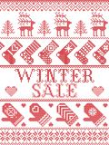 Seamless Winter Sale Scandinavian style, inspired by Norwegian Christmas, festive winter pattern in cross stitch with reindeer. Christmas tree, heart Royalty Free Stock Image