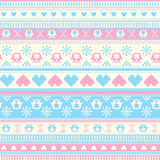 Seamless Winter Sweater pattern with Hearts and Owls. Blue-Pink Royalty Free Stock Image