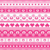 Seamless Winter Sweater pattern. With Hearts and Owls. Seamless pattern can be used for wallpaper, pattern fills, web page background, surface textures Stock Photos